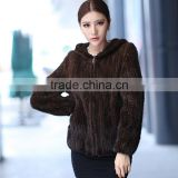 knitted natural black /brown mink fur jackets/coats