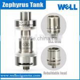 UD Sub Ohm Tank Zephyrus E Cig Tank with Organic Cotton Coil Rebuildable Top Filling Zephyrus