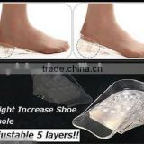 Clear 5 Layers Adjustable Silicone Height Increase Taller Shoe Insoles Heel Pads Increase Heel Lift