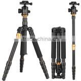 Q666 Flexible Camera photo Tripod with Universal 1/4-inch Tripod Screw Golden aluminum digital camera stand monopod with bag