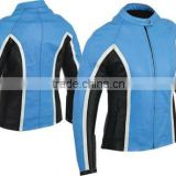 Ladies Blue Leather Motorbike Jacket, Ladies Genuine Leather Riding Jacket, Motorcycle Riding Jacket