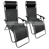 2016 new design Set of 2 Black Textoline Zero Gravity Reclining Garden Sun Lounger Chairs