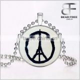 Fire Peace Sign Jewelry Glowing Pendant Necklace Glow in the Dark Pendant Luminous Stone Beads Necklace