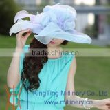 Womens Adult Organza Hat Kentucky Derby Wedding Church Hat Evening Party Floral sun summer Hats