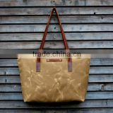 Custom waxed canvas tote bag leather strap