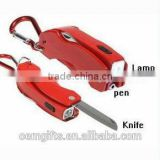 Hot Ballpoint Pen With Holder\Knife\Light;Four Functions Ball pen;