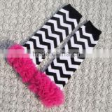 KP-LWR056 Black white chevron baby toddler leg warmer kids ruffle legging 2015