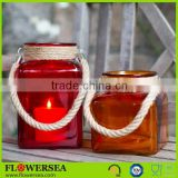 colorful square glass candle jars with hemp rope
