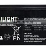 Gel battery 12v 200ah batteries for solar system 5kw