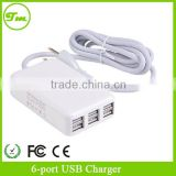 6 Port AC Power Adapter Cord US Plug USB HUB USB Desktop Charger