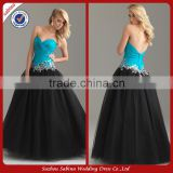 E0208 Sweetheart Black And Blue Pop Line Evening Dresses Organza Color Combination Evening Dress 2014