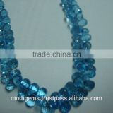 Blue topaz Drop Faceted Bead Chain
