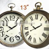 13 Inch Antique Design Golden Quartz Metal Wall CLock With Big Numbers