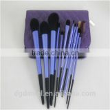 Long Ferrule purple 11pcs soft synthetic makeup brush set Factory OEM hot sale cosmetic brush