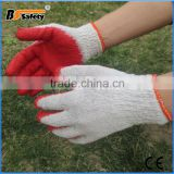 BSSAFETY light cotton yarn knitting red latex coated smooth finished cheap safety working gloves from China for korea etc.