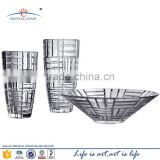 Wholesale art bohemia high end lead crystal glass mirror vase for florist