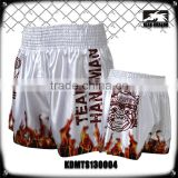 Men's boxing garment 100% polyester satin firepower printed mma muay thai boxing shorts