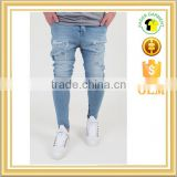 New fashion mens blue drop baggy pants distressed crotch jeans trousers
