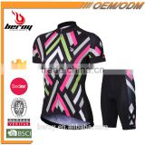 BEROY geometrical short sleeve garment cycling sets for ladies,specialized indoor cycling bike clothes