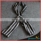 Men Black White Stripe Printing Korean Silk Scarf