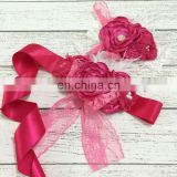 Hot Pink Sash Matching Headband Sets With Rhinestones Bows & Feather Luxe Ribbon Belt Baby Gift