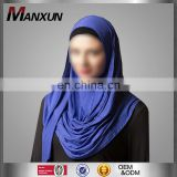 2017 Modest Arabia Women Muslim Hijab Islamic Region Navy Blue Cotton Scraf Fashion Design Wholesaler