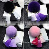 Factory Price Rabbit Fur Ball Tassel Pompom Key Chain Women Bag Hanging Car Accessories