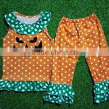 2016 Newest girls fall outfit fall&summer ruffle polka dots pant set halloween baby outfit infant wholesale outfit
