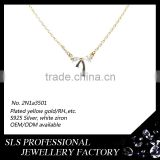 2015 Winter series latest design delicacy yellow gold plated 925 sterling silver diamond bowknot rhinestone necklace for gilrs
