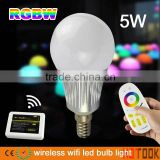 2.4G Smart Light 5W E14 RGBW/WW LED Bulb Light+wifi controller Hub+2.4G wireless RF Remote Controller