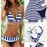 Lady Sexy Beach Cross Strip Style Halterneck Top Bikini Set padded Swimwear Sexy Lingerie