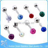 Muti Color Epoxy Gem Ball Straight Barbell Free Sample Tongue Rings