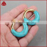 Gold plated small hoop mother sister wife gift circle turquoise howlite pendant