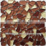 Brown Beige Mixed-Glitter big size Cobble glass mosaic tile Pebble glass mosaic tile