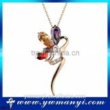 Hot sale factory wholesale alibaba big stone flower girl beautiful gold pendants necklace wholesale N0104