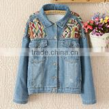 2014 Women coat factory price short retro winter colorful embroidery long sleeve denim coat