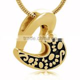 Gold Plated Broken Heart Cremation Memorial Jewelry Urn Pendant Lovely Pet Paw Cremation Ash Pendant