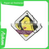 Hot sale design your car air freshener paper custom car freshener car perfume refill, DL982