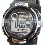 Color bezel black rubber band digital sport watch