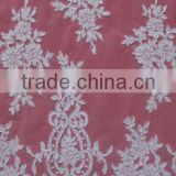 Nice Delicated White Woven Lace Fabric With Wire Cord