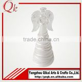 Hot sale and different size decorative glass angel with LED light with good quality for christmas day