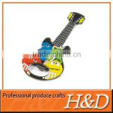 Epoxy guitar Zinc-alloy bottle opener keychain with printing logo for cans