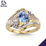 Delicate blue cz 925 sterling silver gold jewelry jewellery turkish                                                                                                         Supplier's Choice