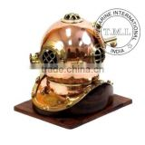 DIVING HELMET - NAUTICAL DIVER'S HELMET - COPPER & BRASS DIVING HELMET WITH BASE - US NAVY DIVING HELMET MARK IV - VINTAGE GIFT