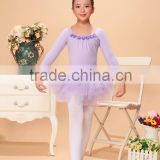 Ballet dress with beautiful flower decorated,long sleeve ballet dress,girls ballet leotard with skirt,