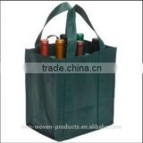 High sewing skill foldable reusable customized made wine bottle tote bag with non woven and cotton material