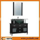 42 inch solid wood chinese bathroom vanity cabinet with glass wash basin