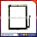 Hot sale Black/ white touch screen Digitizer Assembly Parts &home button key& camera frame replacement For iPad 3/4