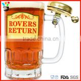 Mug Glass Type & Stocked,Eco-Friendly Feature 500ml Size Top Pint Beer Glasses Mugs with Bell