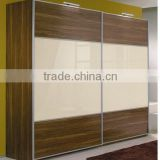 MDF UV lacquer and tempered painted glass inserted sliding door wardrobe